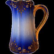Fantastic French Faience Pitcher / Creamer ~ Cobalt with Colored Enamel ~ Keller & Guerin Luneville France 1890's