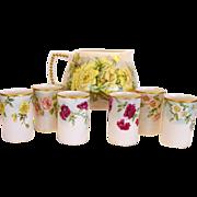 Hand painted Belleek Lemonade / Cider Pitcher with (6) Matching TV Limoges Cups – CAC Belleek & TV Limoges ca. 1900-1907