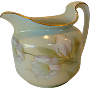 Wonderful German Cider / Water Pitcher with Pink & White Tulip Pattern ~  Reinhold Schlegelmilch- R.S. Germany - ca 1910 – 1938