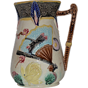 SALE Beautiful  Majolica Pitcher  ~ Turquoise with Fans, Dragonflies, Lotus Blossoms & Prunus