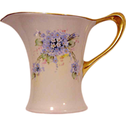 SALE Unique Shaped  Bavarian Porcelain Pitcher ~ Hand Painted with Blue, White and Pink Flower