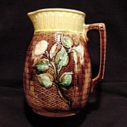 SALE Awesome Brown Majolica Pitcher with Morning Glories