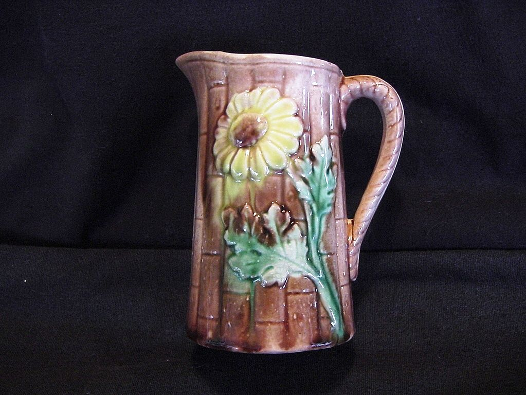 Nice Old Majolica Pitcher / Creamer Brown with Pink & Yellow Flowers