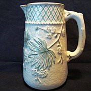 SALE Wonderful Old Faience / Majolica Pitcher ~ Teal Flowers with Gold Accents ~ Balt Avalon ~