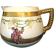 Beautiful Art Nouveau Lemonade / Cider Pitcher ~ Hand Painted with Grapes ~ Artist Signed 1920