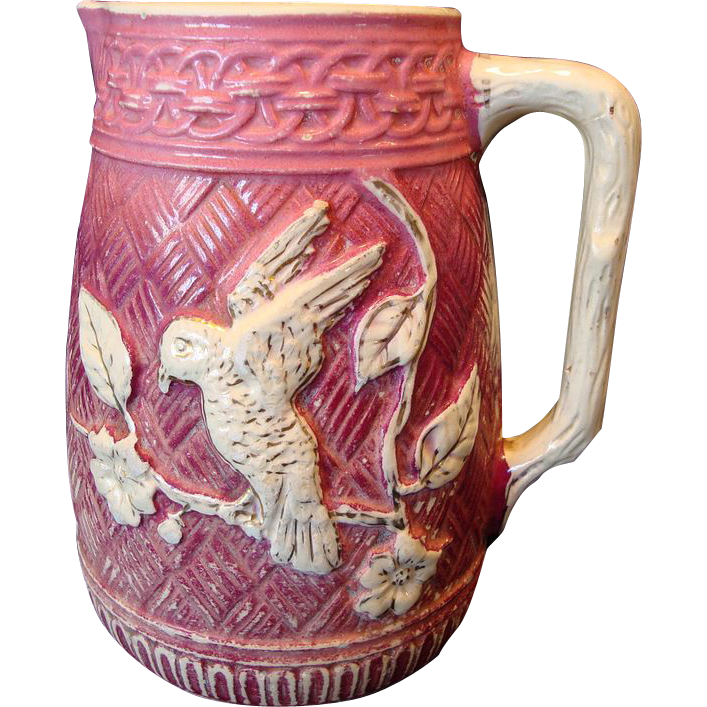 Wonderful Old Majolica Pitcher (Over 7'' High!!) Mauve with Cream Bird and Flowers