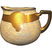 SALE Beautiful Bavarian Porcelain Lemonade / Cider Pitcher ~ Hand Painted with Gold Embossed G