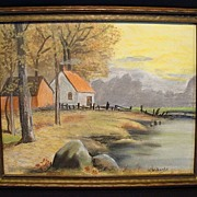 SALE Beautiful Original Pastel Chalk Picture of House with Mountains and Lake ~ Signed U. Wilb