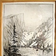 Rare Drypoint Engraving Print of Dream Lake at Rocky Mountain National Park Estes Park Colorad