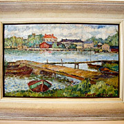 Wonderful Oil on Canvas of a Maritime / Nautical / Sea Shore Impressionist Landscape with Boat