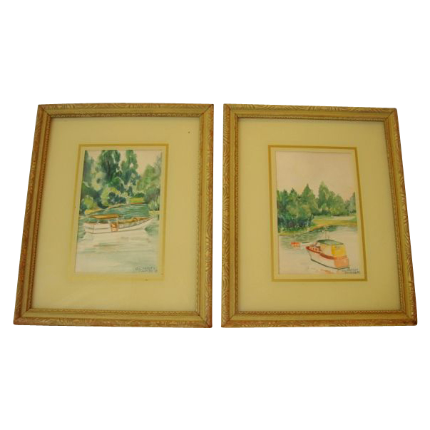 2 Wonderful Hand Painted Framed Watercolors of Boats in an Outlet ~ By OL Hatley July 1937