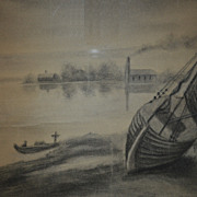 SALE Awesome Original Charcoal Drawing of Boats and Sea Shore