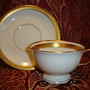 SALE 12 Available Pickard Footed Cup & Saucer ~  Hand Painted with Encrusted Diamond Rim ~ Jef