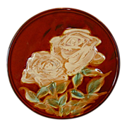 SALE Unique & Beautiful Japanese Plaque / Plate with Majolica like White Roses ~ Japan 1920'