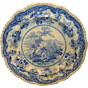 "SALE Wonderful 10 ½"" English Earthenware Aesthetic Cabinet Plate ~ Blue Transfer ~ Chinese"