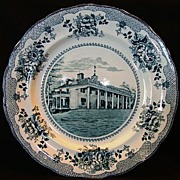 SALE Nice Dark Teal Transferware Plate ~ American Scenes: Washington Home Mt. Vernon~ Buffalo