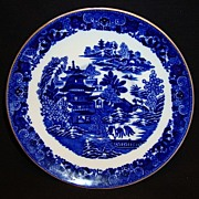 Beautiful English Blue & White Saucer ~ Chinoiserie Motif ~ Two Temples 1 pattern ~ WT Copeland  Staffordshire England 1851-1885