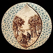 Beautiful German / French Faience Plaque ~ Teal & Brown Apple Orchid Scene ~ Utzschneider & Cie Germany (SARREGUEMINES) 1894-1918