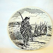 French Faience Plate ~ National Guard Series ~ Paris Under Siege ~ BARLUET & Co (Creil & Montereau, France) - ca 1876 - 1884 B & Cie Creil et Montereau France