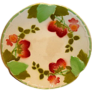 "Wonderful French Majolica 8 ½"" Plate with Red Ripe Strawberries ~ Boulenger Choisy-le-Roi, France 1900's"