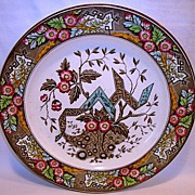 "Wonderful Large-Size English Clobbered Aesthetic Earthenware Plate 10 ½"" ~ Beatrice Pattern ~ Wedgwood & Co England 1880"