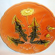 SALE Awesome LARGE-SIZED German Majolica Plate Hand Painted with Dandelion ~ ZELL United ...