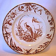 Great Aesthetic  Brown Transfer  Earthenware Plate ~ Indus Pattern with Asian Pheasants & FLora ~  attributed to Ridgways Staffordshire England 6/15/1877