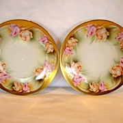 (2)  ~ RS Prussia Porcelain Plates-Pair ~ Factory Decorated with Parrot Tulips ~ REINHOLD SCHLEGELMILCH - R.S. PRUSSIA (Germany) - ca 1917 - 1920s