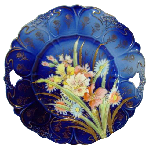"""Unbelievable German Porcelain 11"""" Cake Plate ~ Cobalt Blue with Pastel Mixed Flowers ~ REINHOLD SCHLEGELMILCH PORCELAIN FACTORIES - R.S. GERMANY (Germany) - ca 1870s - 1880s"""