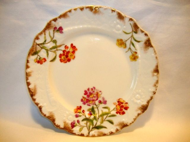 Gorgeous Limoges Porcelain Plate ~ Hand Painted Magenta, Orange and Yellow Flowers ~ Delinieres & Co ( D & C ) Limoges France 1879-1893