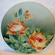 """Illuminating 12 1/4"""" French Faience / Majolica Charger with Red Roses ~ KELLER & GUERIN - ERNEST BUSSIERE (Nancy, France) - ca. 1890s - 1930s"""