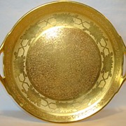 "SALE Beautiful 10 ¾"" W Cake Plate ~ All over Gold ( AOG )~ Daisy Design ~ Stouffer Studios"