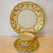 SALE Elegant Limoges Porcelain Trio of Cup, Saucer & Plate ~ Hand Painted with Raised Gold ...