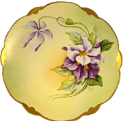 "Gorgeous Bavarian Porcelain Plate ~ Hand Painted with Purple and White Clematis ~ Pickard Studio Artist Signed "" Wight "" ~ Rosenthal Bavaria / Pickard Studios Chicago IL 1905 - 1910"