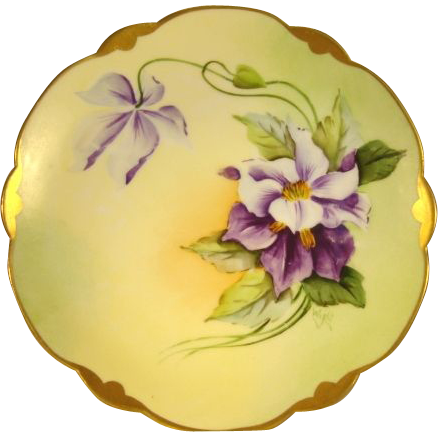 """Gorgeous Bavarian Porcelain Plate ~ Hand Painted with Purple and White Clematis ~ Pickard Studio Artist Signed """" Wight """" ~ Rosenthal Bavaria / Pickard Studios Chicago IL 1905 - 1910"""