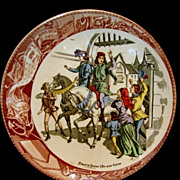 "SALE Great Sarreguemines France Faience ""(Jeanne) Joan Of Arc Going to see the King"" ..."