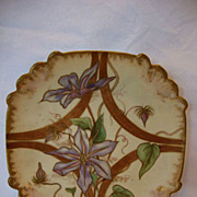 SALE Nice Cabinet Plate ~ Hand Painted with Purple Clematis ~ Unmarked