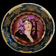 """SALE Superb Art Nouveau Portrait Plate of """"Epheu ~ Royal Vienna Style ~ Hand Painted ~Zeh, S"""