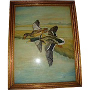 SALE UNIQUE Reverse Glass Oil Painting with Painted Board & Frame ~ Two Mallard Ducks in Fligh