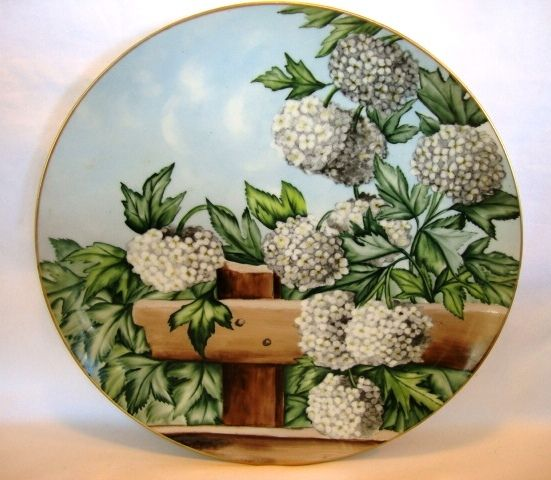 """Magnificent 13 ¾"""" Limoges Charger ~ Hand Painted with Hydrangea (Snowball) Flowers ~ Haviland & Co Limoges France 1876-1889"""