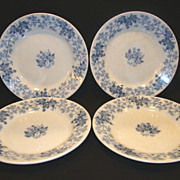"4 ~Nice French Blue Faience 8"" Salad Plates ~ Blue Leave & Vines ~ Houblon pattern ~ UTZCHNEIDER & CO (Sarreguemines, France) - ca 1900"