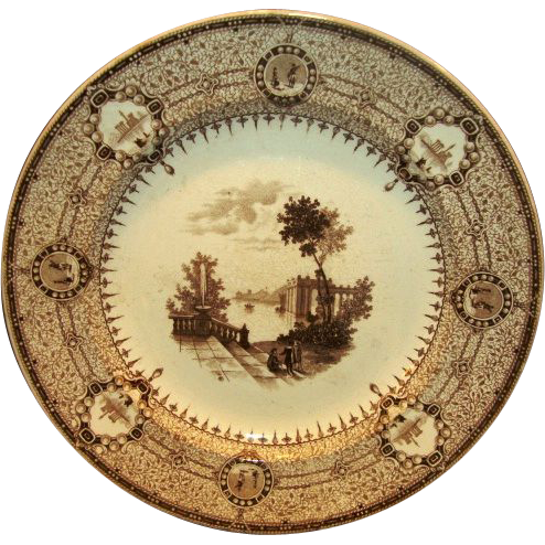 Wonderful Brown Transferware 16 sided English plate ~ The Gem Pattern ~  T. J. & J. Mayer Longport England 1842-1855