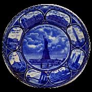 "Beautiful Staffordshire Dark Blue "" Souvenir of  New York City"" 10""  Plate  ~R&M CO The Rowland & Marsellus Co. Staffordshire England 1893-1938"
