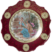 "Gorgeous 10"" Porcelain Plaque / Plate with Cherubs and Goddess ~ Victoria Porcelain Schmidt & Co Bohemia 1904-1918"