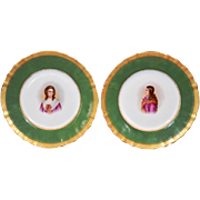 SALE 2 ~ Wonderful Portrait Plates ~ Madame Roland & Mademoiselle de Sombreuil  ~ Hand Painted