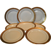 "Set of 8 – 6 1/8"" Bread & Butter / Horderves Plates ~ Gold Encrusted Edge,Gold Rings, Ivory Background  ~Pattern Premier #2445 ~ Rosenthal  Bavaria for Ovington's Chicago / New York 1920 +"
