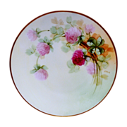 "Beautiful 6 5/8"" Bavaria Plate ~ Hand Painted with Pink / Red Clovers ~ Artist 'Hale' ~ Pickard Studios Chicago IL  / Favorite Bavaria 1905-1910"