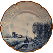 SALE Gorgeous Porcelain Cabinet Plate ~ Farm house and Boat Scene ~ Delft-Sanssouci by ROSENTH
