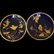 SALE 2 Gorgeous Cabinet Plates ~ Cobalt with Raised Gold Paste Birds ~ Fischer & Meig ...