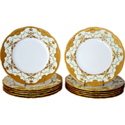 """Set of 12 Minton 10 1/4"""" Dinner Plates ~ Exquisitely  Decorated with  Gold & Enamel Paste ~ Mintons Stoke on Trent, Staffordshire England, circa 1890-1920  for Davis Collamore Fifth Ave New York"""
